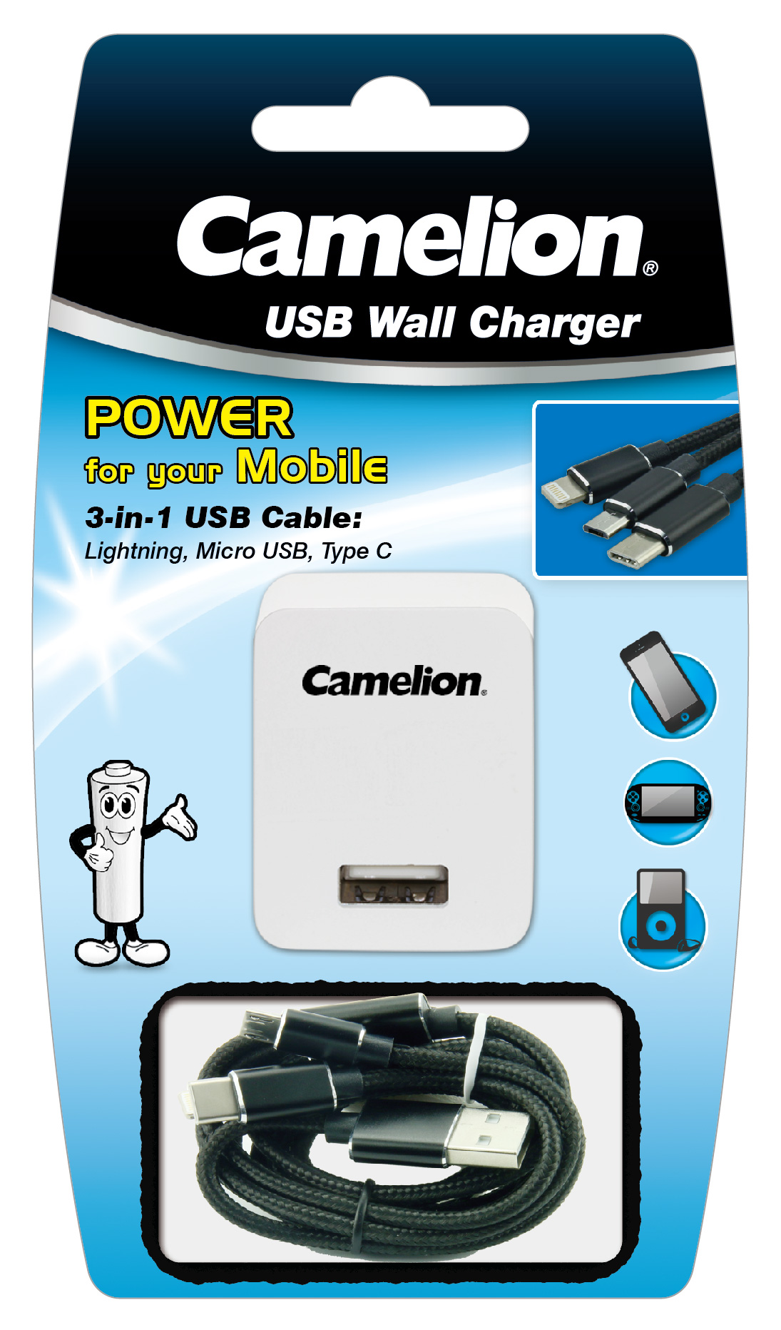 Camelion 3 In 1 Micro Lightning Usb C Cable With Wall Plug