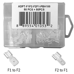 F1 to F2 & F2 to F1 Sealed Lead Acid Terminal Adpapters 100 Count (50 Pcs Each)