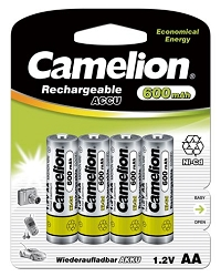 Camelion AA 600mAh  Ni-Cd Rechargeable 4 Pack
