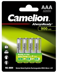 Camelion AAA 900mAh Always Ready Ni-Mh Rechargeable Batteries 4pk Blister