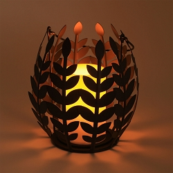 Wisteria Leaf Basket with Flameless Resin Candle