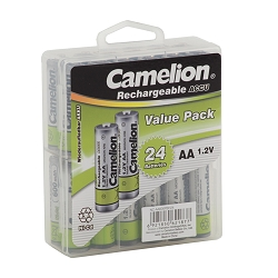 Camelion AA 600mAh  Ni-Cd Rechargeable 24 Hard Pack