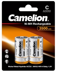 C Ni-MH 3500mAh Rechargeable Battreries 2 Pack