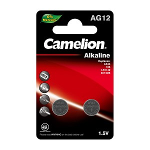 Camelion AG12 / 385 / LR43 1.5V Button Cell Battery 2pk