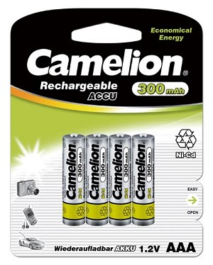 Camelion AAA 300mAh Ni-Cd Rechargeable 4 Pack