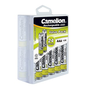 Camelion AAA 300mAh Ni-Cd Rechargeable 24 Hard Pack
