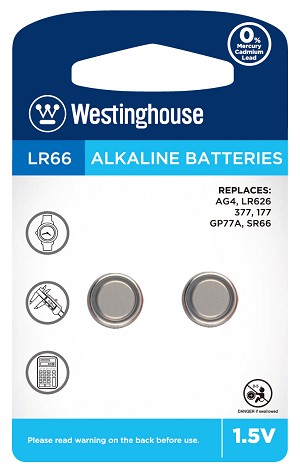 Westinghouse AG4 / 377 / LR626 1.5V Button Cell Battery 2pk