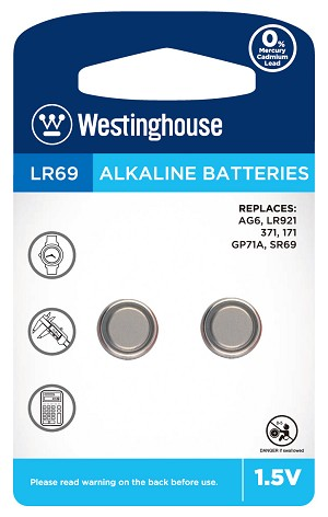 Westinghouse AG6 / 371 / LR921 1.5V Button Cell Battery 2pk