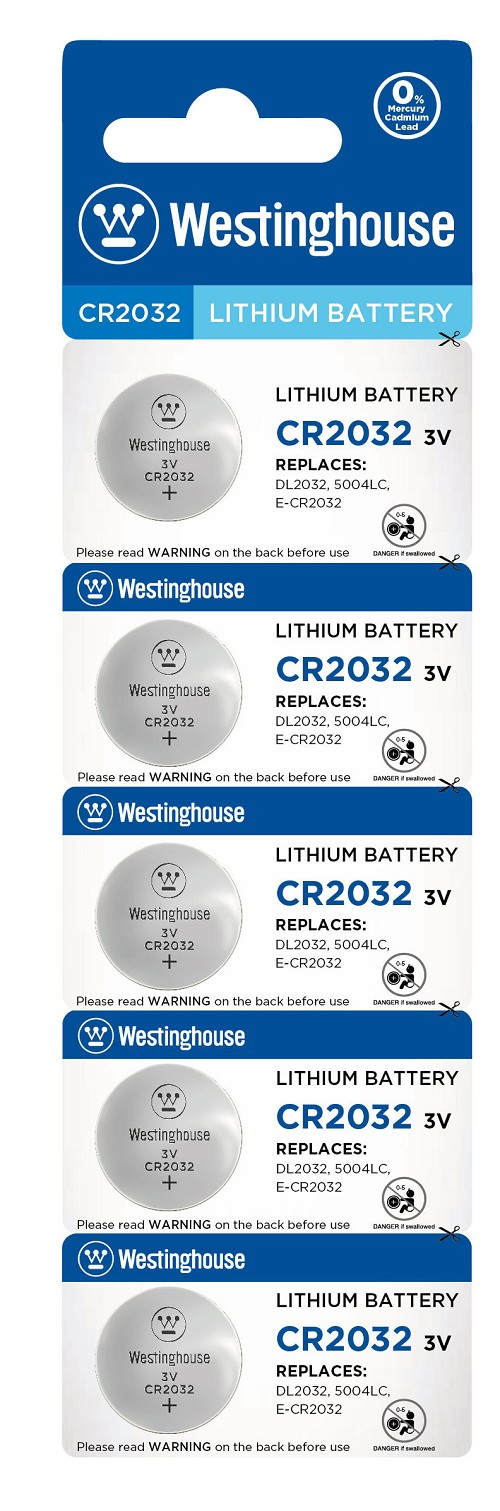 Westinghouse CR2032 3V Lithium Button Cell 5pk