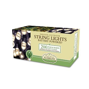 Battery Operated String Lights 200 LED Warm White